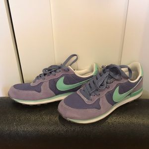 Nike Mint Green and Purple Sneakers